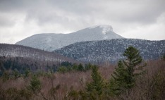A layer of wet snow mantled Camel's Hump yesterday.
