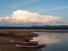 Large cumulus clouds build over the Rutland area as viewed from Great Sacandaga Lake. The resultant storms delivered heavy rain and high winds to the area Thursday night.