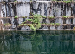 Reflections in the water of the Dorset marble quarry—the oldest marble quarry in the US!