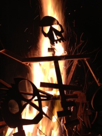 Wooden skeletons burn in a neighbor's bonfire last night. Thanks for a fun nigh R&G!