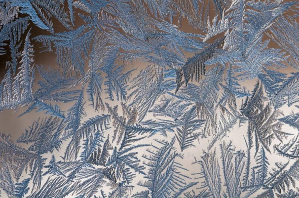 Another shot of window frost on the inside of our barn windows...