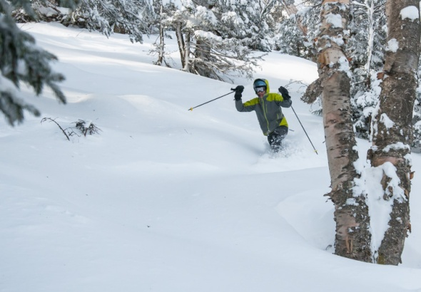 Eric Hanson cuts through the fresh powder at an undisclosed location somewhere near Mad River Glen.