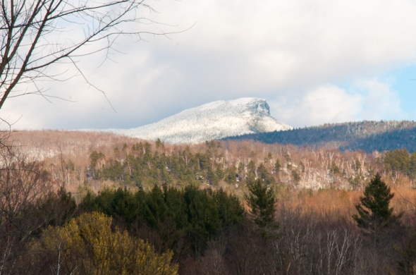 The summit of Camel's Hump catches some afternoon sunlight in this view from our front field.