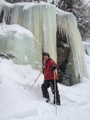 "Ski posse-mate Jon Isaacson pauses in the ""Ice Palace"" at Mad River Glen yesterday during a fine powder run."