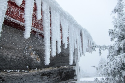 Icicles coated with rime along the eaves of the Stark's Nest at the top of Mad River Glen yesterday.
