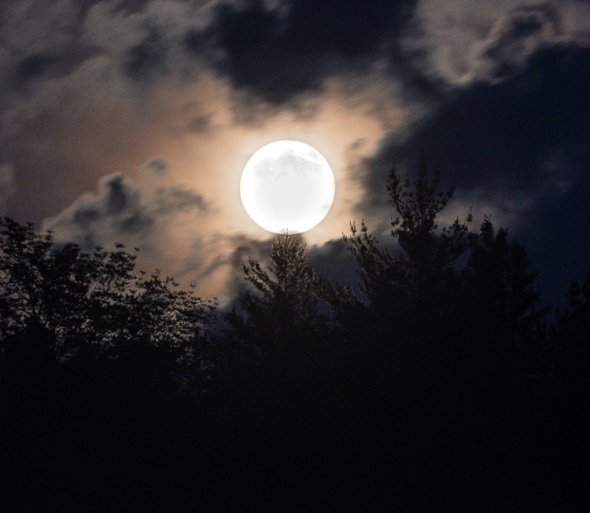 Last night's full moon peeks out from behind fast moving clouds.