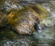 """""""Light scribbles"""" traced on falling water in Fargo Brook."""