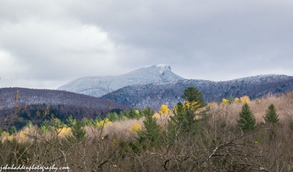 Camel's Hump dusted with snow yesterday afternoon.