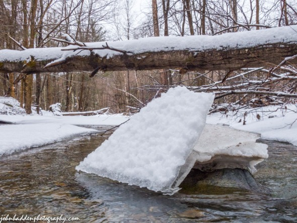 Stranded ice in Fargo Brook