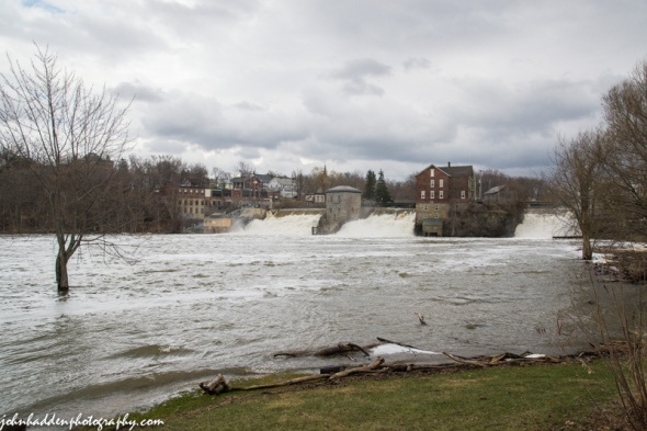 Otter Creek pours over the falls at Vergennes yesterday.
