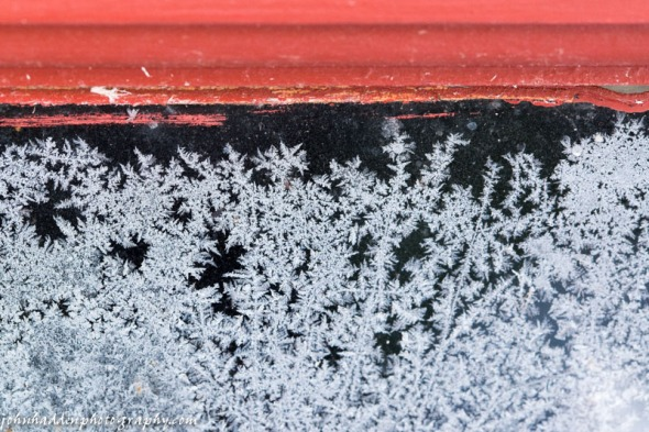 Frost forms on the inside of our garage windows