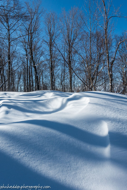 Drifted snow and shadows up near Crow Hill