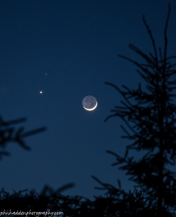 Last evening's conjunction of Venus, Mars, and the crescent moon was spectacular!