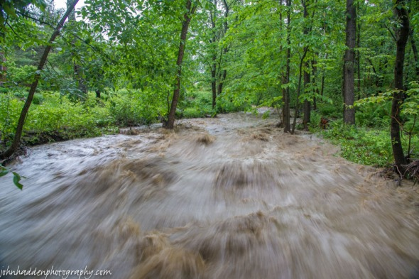 Fargo Brook raging yesterday evening.