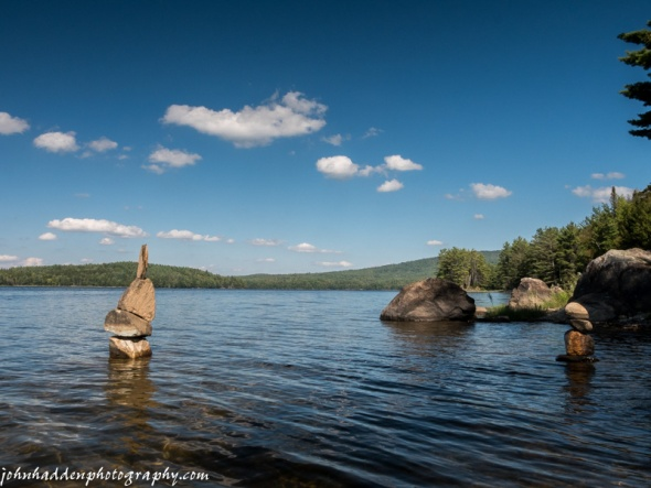 Standing stones in Moore Reservoir on the Connecticut River